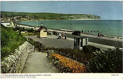 Swanage, Esplanade, Cliffs and Ballard Down, colour postcard, posted 1959
