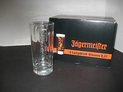 New in Box 6 Jagermeister Long drink Bar Glasses