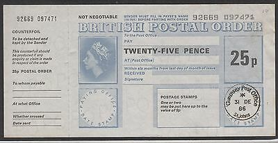 Guernsey Postal Order 25p - 31 DE 1986 (Last Day of St Johns Post Office)