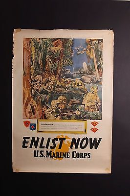 Original 1945 Wwii Enlist Now Us Marine Corps Recruiting Poster By Major Harding