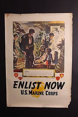 ORIGINAL 1945 WWII ENLIST NOW US MARINE CORPS RECRUITING POSTER BY SGT McDERMOTT