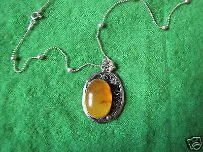Antique Old Natural Baltic amber 10 gr USSR Necklace Sterling Silver 925 antik