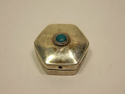"Vintage ""iguala-Elm"" Hexagon Sterling Silver & Turquoise Pill Box-Mexico"