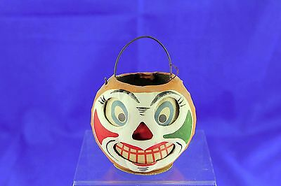 Vintage German Paper Mache Clown Face Jack O Lantern With Paper Insert