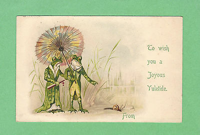 FANTASY pc Dressed BOY & GIRL FROGS, UMBRELLA walking SNAIL on LEASH by a POND