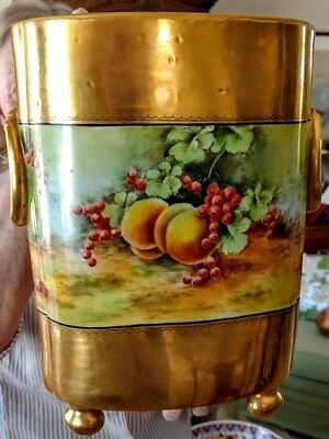 """PICKARD""-Type Limoges-Hand Painted & w/Lots of Gold 12.5"" Cache Pot Signed!"