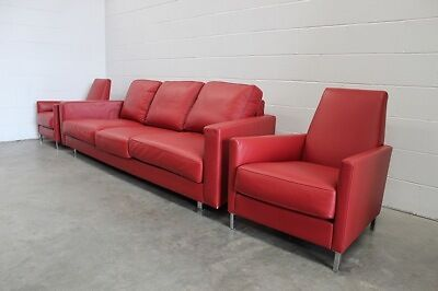 "Stunning Mint Moroso ""Hyde Park"" 3-Seat Sofa & 2 Armchair Suite in Red Leather"