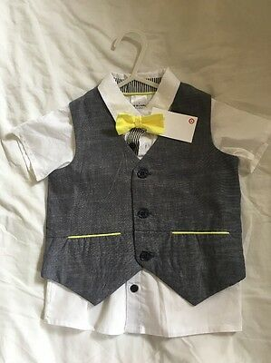 Baby Boy White Shirt, Grey Vest And Yellow Bow Tie Size 1