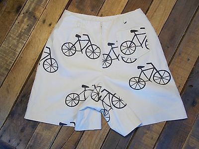 vtg 1960s BICYCLE Novelty Shorts by Seaton Hall cotton canvas High waist 27""