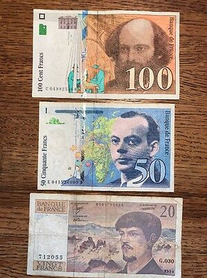Lot Of 3 French Franc Notes (100, 50, 20)
