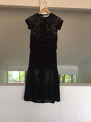 Alice McCall Top And Skirt Black Lace Size 8