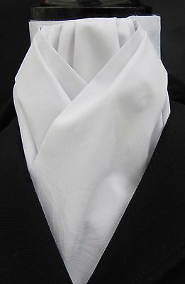 Ready Tied White on White Feather Design Cotton Riding Stock - Dressage Eventing