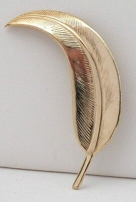 An Eyecatching Type Of Vintage Brooch In Shiny Yellow Gold Tone Filigree Leaf