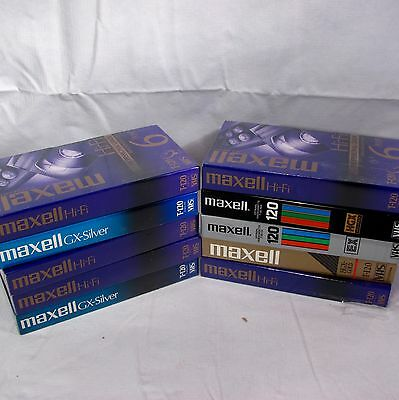 Lot of 10 NEW VHS Recording Tapes Maxell T-120 6 hour  NEW SEALED C1