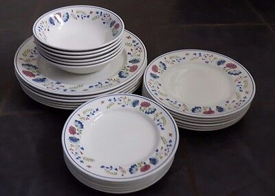 Set of 24 British Home Stores BHS Priory 6 x Bowls ,Dinner,Side and Tea Plates