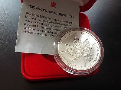 2000 1 oz Silver Maple Leaf $5 Expo Privy Mark