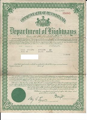 Vintage 1921 Ford Model T Touring Motor Vehicle Title Collectible RARE!