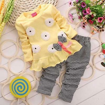 Toddler Kids Baby Girl Spring Outfits T-Shirt Tops Dress Plaid Pants Clothes Set
