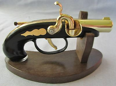 Vintage DERRINGER GUN on stand table lighter - sparks!