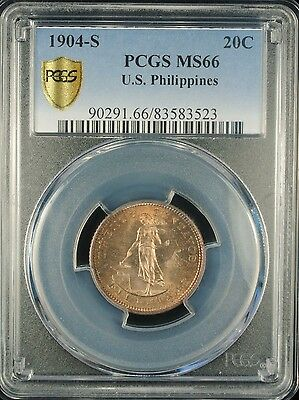 1904-S 20C PCGS MS 66 U.S. Philippines Tied for Finest Graded