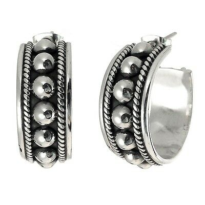 TAXCO 925 OXIDIZED PRESSED BEADS HOOP EARRINGS  Mexico Sterling Silver