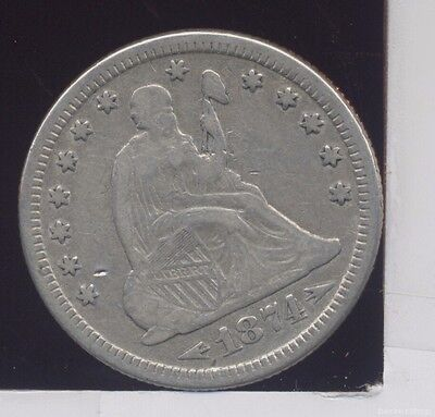 1874 (arrows) Seated Liberty silver quarter, VF cleaned/dipped. some luster.