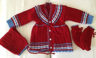 Hand Knit Baby Boy/Girl Sweater 3 Piece Set Size 6-9 Months