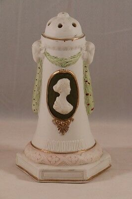 Antique SCHAFER & VATER Bisque Porcelain CAMEO Hat PIN HOLDER with Ram Heads