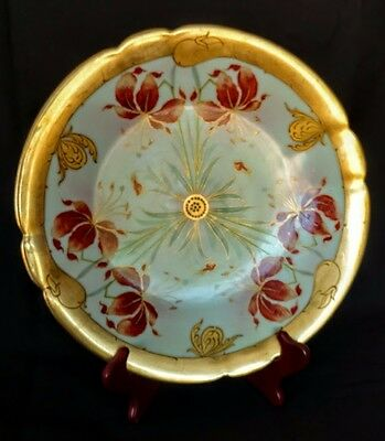 """PICKARD Cake plate-12.5"""" across, Ca. 1905  """"Lindner"""" Decorated Sig."""