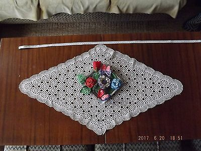 Beautiful vintage hand crochet white circular table cloth*delicate work*