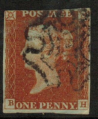 Great Britain #3, 1841 1d Imperf, Maltese Cross Cancel, letters B-H, VG