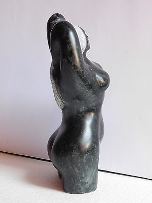 """Vintage Inuit Nude Female soapstone carving, 10"""" High"""