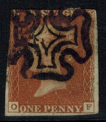 Great Britain #3, 1841 1d Imperf, Maltese Cross Cancel, letters O-F, VG