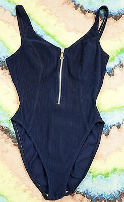 VTG 80's La Blanca Blue Zipper Front 1-Piece High Cut Ribbed Bathing Swimsuit M