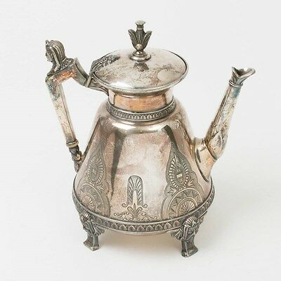 Antique Meriden Britannia 1871 Teapot Silver Plated Egyptian Revival Coffee Pot