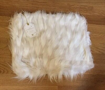 "NEW Pottery Barn Teen Faux Fur 12x16"" Pillow Cover LLAMA Natural Boudoir"