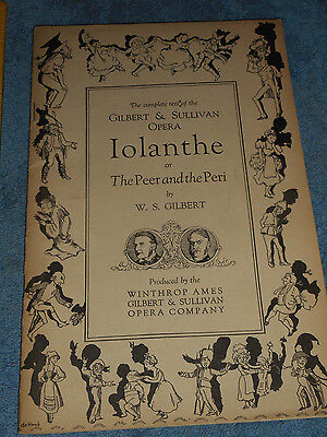 1920 Winthrop Ames GILBERT & SULLIVAN Opera House IOLANTHE The Complete Text