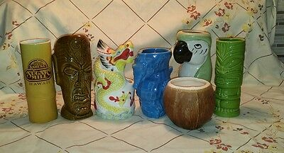 Lot of 7 Tiki Mugs Trader Vic's, Daga Hawaii, KC, Fujiwara, Benzart by Tiki farm