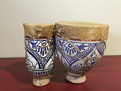Native American Drum bongo Rawhide leather tribal clay ceramic pottery Mexico