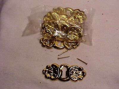 12 Victorian Stamped  Brass Dresser Drawer Escutcheons With Pins Key Hole Covers