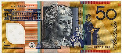 1996 $50 First Prefix Aa 96   Reserve Bank Of Australia Polymer  Unc C/v $440