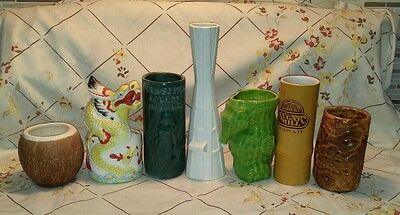 Lot of 7 Tiki Mugs Trader Vic's, Polynesian pottery , Daga Hawaii, Fujiwara,