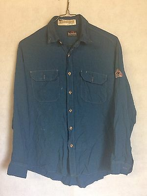 Bulwark FR Flame Resistant Nomex Shirt Gulf Blue Work Uniform ATPV 4.2 Large #T