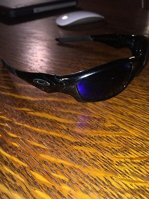 "EUC Men's Oakley Sunglasses ""straight"" Style Black With Blue Polarized Lens"