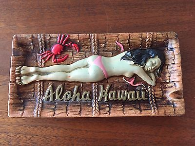 VINTAGE ALOHA Hawaii BIKINI Lady Ceramic ASHTRAY TIKI HULA