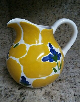 Dansk St Tropez 56oz Pitcher Made in Portugal Yellow Blue Flowers