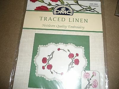 "Dmc - ""carnations"" -Traced Linen - Embroidery Doily Set - New"