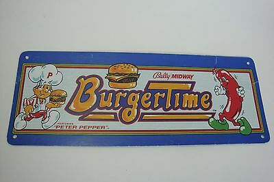 Vintage Original Arcade Burgertime Metal Marquee Sign Bally / Midway Sz 10 5/8 ""
