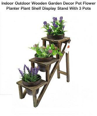 Indoor Outdoor Wooden Garden Decor Pot Flower Planter Plant Shelf Display Stand