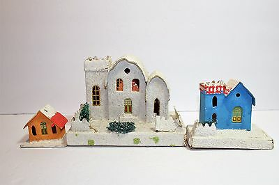 Junk Drawer Destash LOT of 3 Christmas Vintage JAPAN PUTZ HOUSES CHURCH